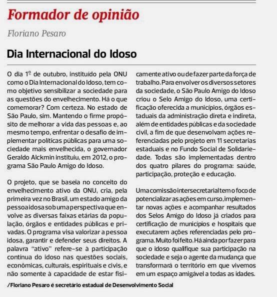 Diario de S Paulo artigo Idoso